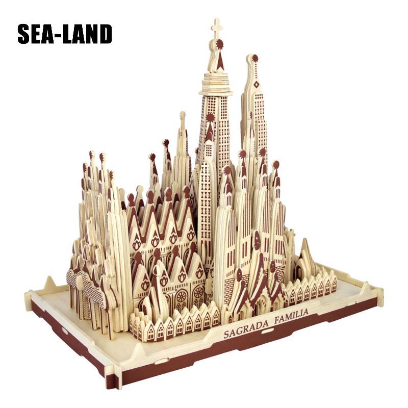 Livraison directe 3D Puzzle en bois enfants modèle adulte la Sagrada Familia un jouet pour enfants de célèbre série de construction meilleur cadeau pour les enfants - 5