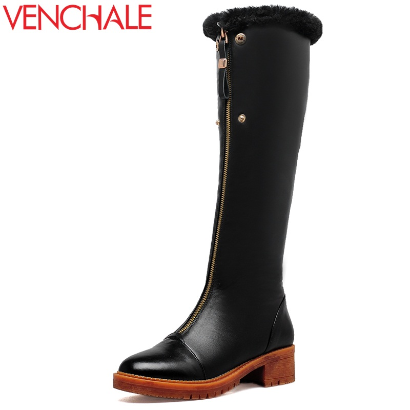 VENCHALE winter knee high boots woman mid heel round toe ladies warm shoes real fur genuine leather foot upper women boots heels doratasia big size 34 43 women half knee high boots vintage flat heels warm winter fur shoes round toe platform snow boots