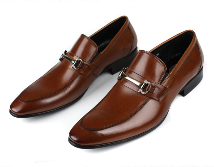 Fashion Black Brown Tan Loafers Shoes Mens Dress Genuine Leather Wedding Men Office