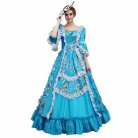 Women's Baroque Dress Masquerade Costume Victorian Rococo Long Dresses Cosplay Gown