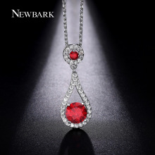 NEWBARK Fashion Jewelry Necklaces For Women Big Waterdrop Inlaid Prong Red Crystal Stone Pendant Hearts And Arrow Necklace