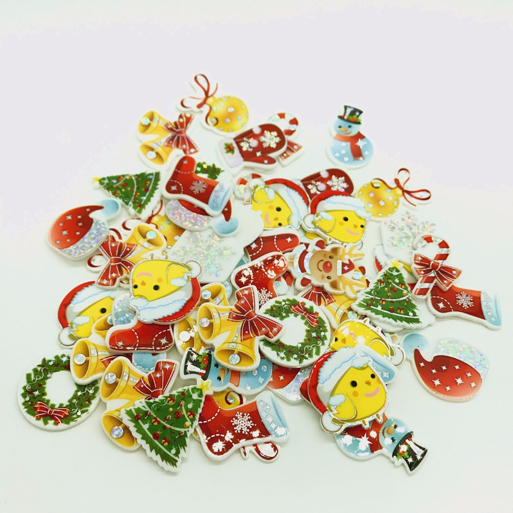 Free Shipping! 10Pieces Flat Back Resin Cabochon Christmas Tree DIY Flatback Embellishment Accessories Scrapbooking Decoration