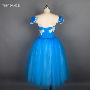 Image 2 - Özelleştirilmiş profesyonel bale dans Tutu deniz mavi uzun romantik tutuş balerin elbise kol bantları ile B18002