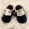 Black Genuine Leather Infant Shoe Gold Fringe Baby Moccasins