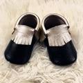 Black Genuine Leather Infant Shoe Gold Fringe Baby Moccasins