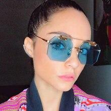 ba6895899f35d RFOLVE Hexágono Quadrado Lente Sem Aro Óculos De Sol Das Mulheres Marca de  Alta Qualidade Eyewear