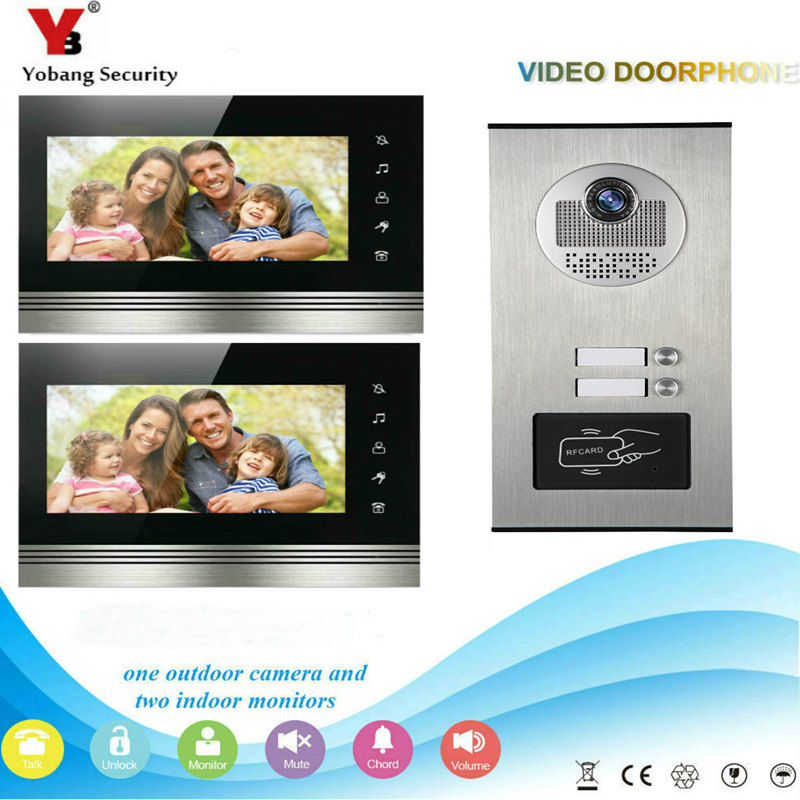 Wired Home 7'' Color Video Intercom RFID Camera Door Bell with 2 Monitors Video Door Phone support 500 user for multi Apartments