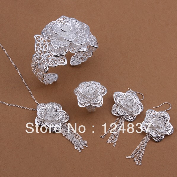 925 Silver Wedding Bracelet Earrings Ring Necklaceset Set Bridal Jewelry Sets Fashion Jewellery