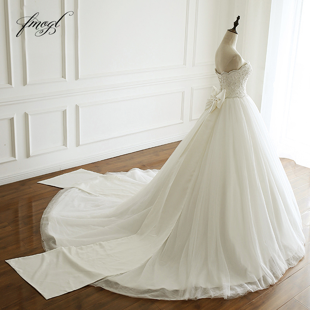 Backless Wedding Dresses 2019: Fmogl Vestido De Noiva Strapless A Line Wedding Dress 2019