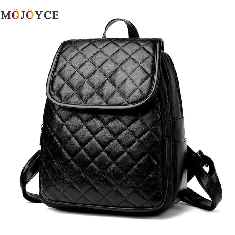 Classic Women Zipper Diamond Lattice Leather Backpacks Teenage Girls Travel Shoulder Back Pack Mochila Feminina #2