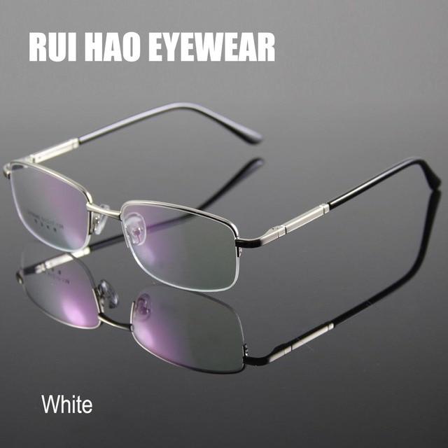 Homens Óculos de Armação Homens Metade Sem Aro Vidros Ópticos Óculos de  Leitura Miopia Armações de 94c808971a