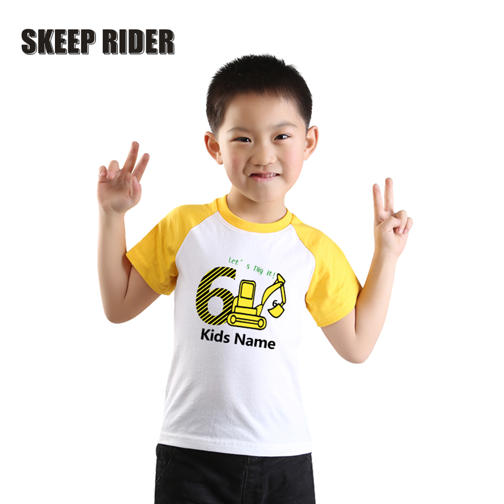 Kids Tops Birthday Shirt Letter Children Clothes Print Girls Baby-Boy Boys Cotton Yellow