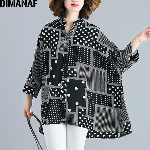 Chiffon Summer Polka Dot Big Size Loose Batwing Female Clothes