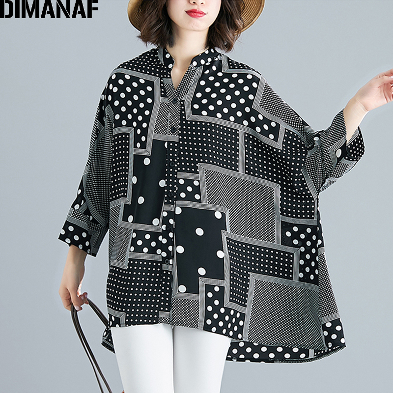 DIMANAF Plus Size Women   Blouse     Shirt   Lady Tops Tunic Chiffon Summer Polka Dot Big Size Loose Batwing Female Clothes 5XL 6XL 2019