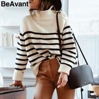 BeAvant Turtleneck striped sweater women winter 2018 Side button autumn jumper female Casual winter sweater christmas pull femme
