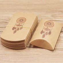50pcs/lot Good luck Dreamcatcher gifts pillow bags white /brown marbel background candy/wedding box DIY Thank you
