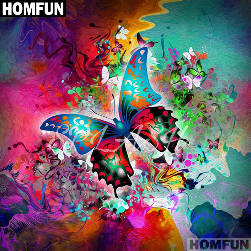 HOMFUN Full Square/Round Drill 5D DIY Diamond Painting Beautiful butterfly 3D Embroidery Cross Stitch Mosaic Decor Gift A01091