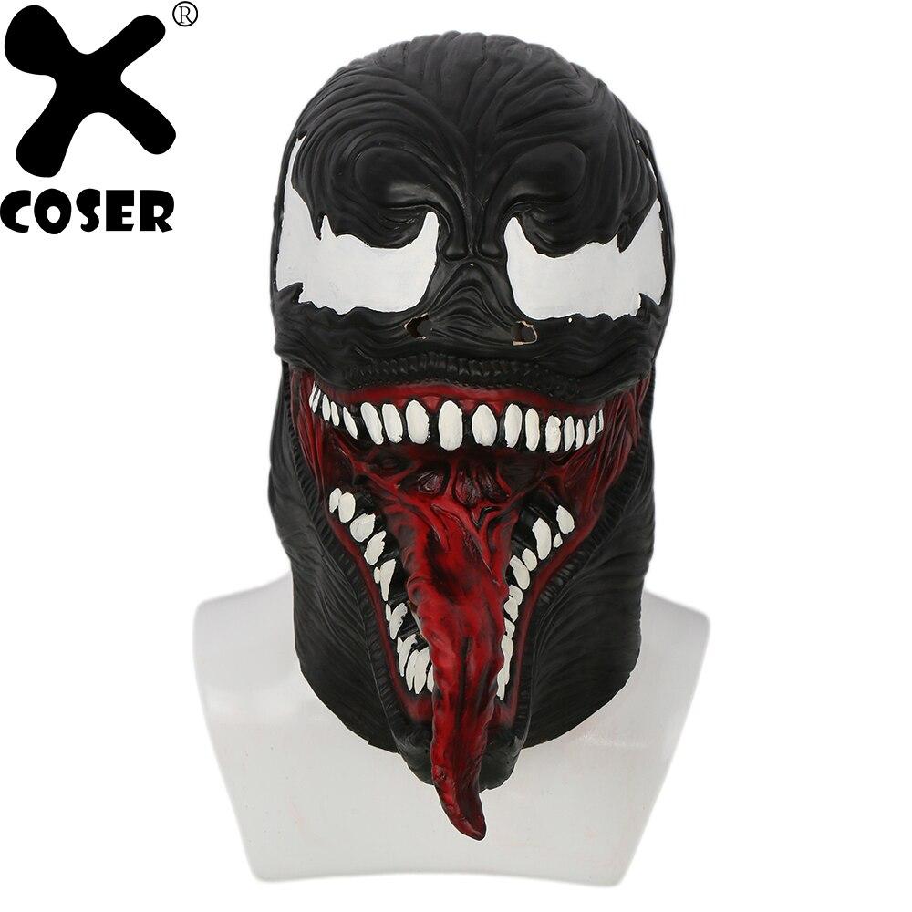 XCOSER Spider-Man Venom Masque Noir & latex rouge Plein Visage Masque Élégant 2018 Halloween Party Plein La Tête Casque Cosplay accessoires
