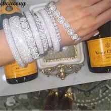 Choucong pulsera de fiesta de oro blanco y Circonia cúbica para hombre y mujer, brazalete hecho a mano de 27 estilos, 5A, accesorios de boda