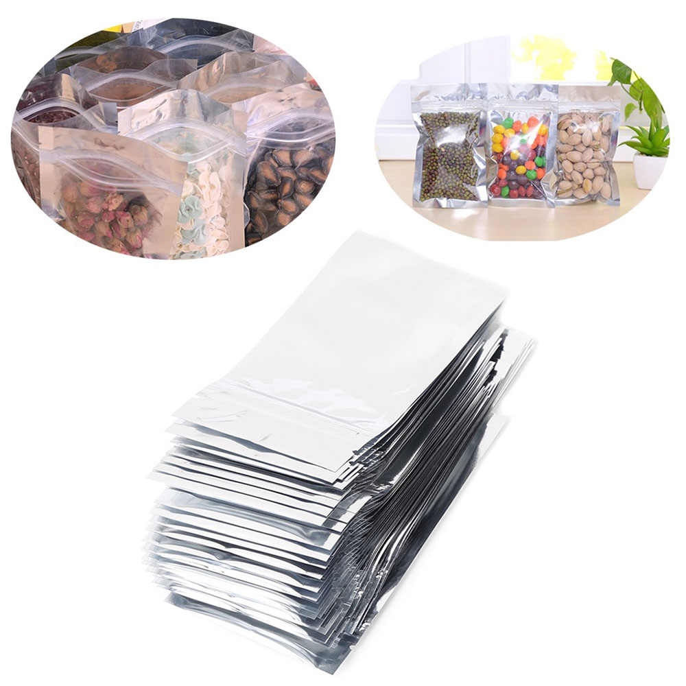 50pcs Wholesale Many Size Reusable Stand Up Silver Aluminum Foil Ziplock Bag Food Grade Thick Ziplock Coffee Foil Bags