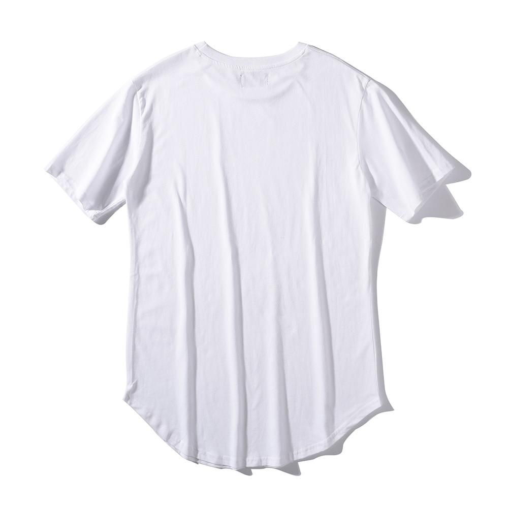 Man Si Tun Summer Men Fashion Steetwear Urban Clothing Long T Shirt with Curved Hem Shirt Plus Size White Tall Tees Hip HopTees