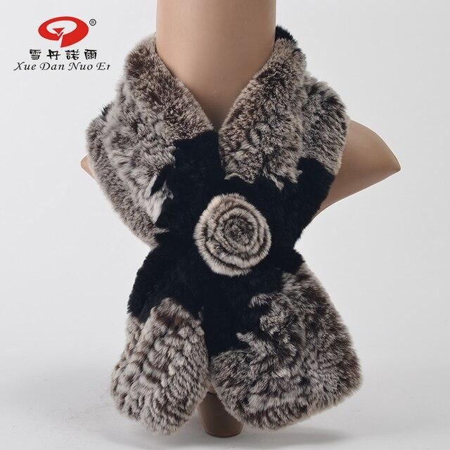 Природный Рекс кролика kintted шарф женщин зимний натуральный мех 2016 новое поступление шаль на новый год горячие продажи fashional и элегантный