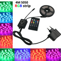 5050 RGB LED Strip Light 4M 30LEDS/M SMD Diode Tape LED Ribbon with Music Remote Controller 12V 2A Power Adapter