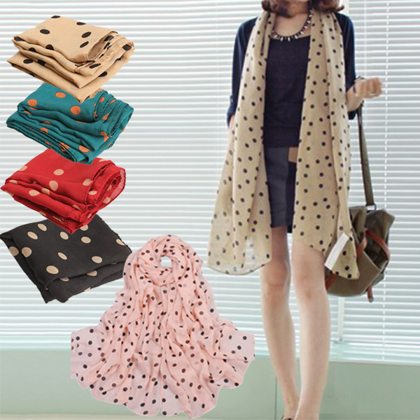 Hot Fashion Women Scarves Chiffon Polka Dot Scarf Lady Shawl Wraps Muffler Sale -MX8