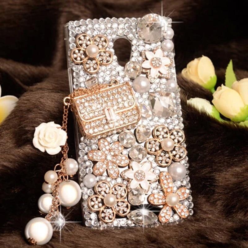 imágenes para Lujo 3D Bling Bling Rhinestone Claro plástico Sonrisa teléfono móvil Caso para Huawei Y6 Pro funda para Huawei honor 4C Pro Casos