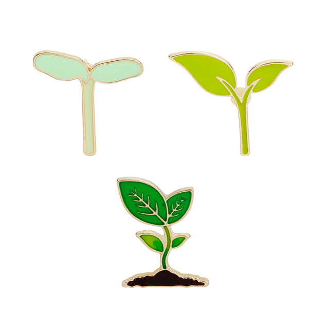 Bean sprouts seedling Enamel Pins And Brooches Natural green tree seedling plant