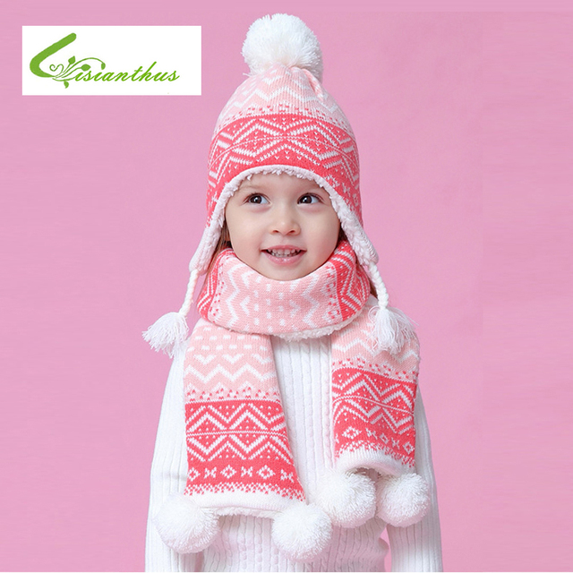 512e9030d3c Winter Kids Knitted Hat  Scarf Fashion Geometry Pattern Thickening Hat Ear  Flap Cap Warm Children Christmas New Year Snow Caps