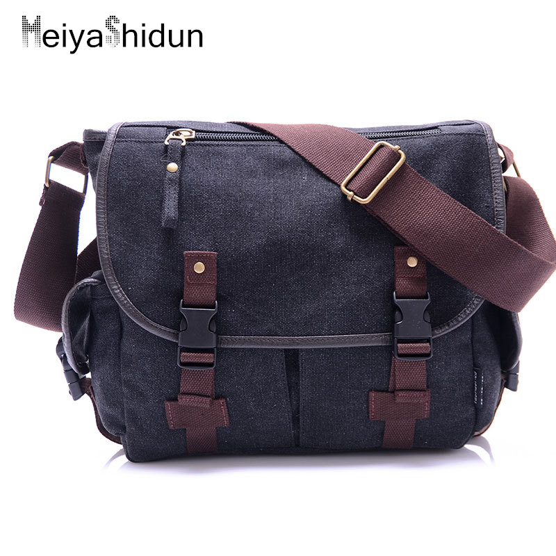 MeiyaShidun Cool Canvas Bag Men's solid cover casual Military shoulder school bags Travel crossbody Messenger Bags Mochila bolsa augur 2017 canvas leather crossbody bag men military army vintage messenger bags shoulder bag casual travel school bags