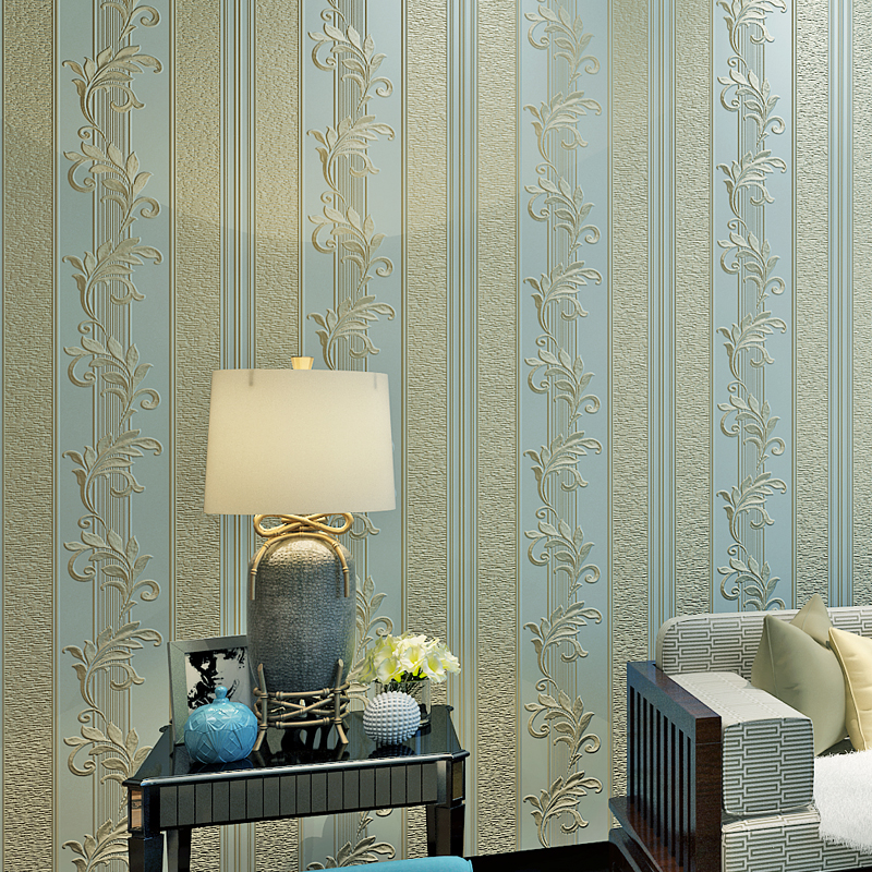 European Style Non-woven Buttercup Vertical Stripes Wallpaper For Walls 3D Living Room Bedroom Background Wall Paper Home Decor