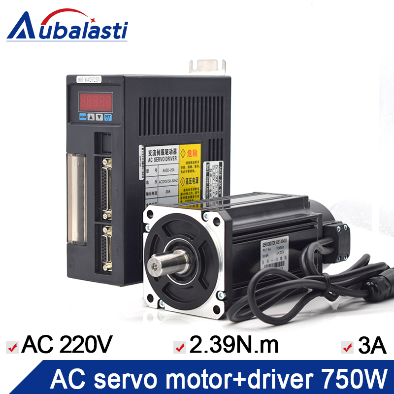 Motorista servo 750 v aasd 20a do servo motor 80st-m02430 + ac do servo motor do motorista 220 w ac para o gravador do cnc e a máquina de corte