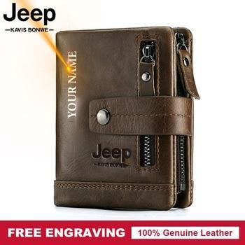 Free Engraving 100% Genuine Leather Men Wallet Coin Purse Small Card Holder PORTFOLIO Portomonee Male Walet Pocket Coffee Money 1