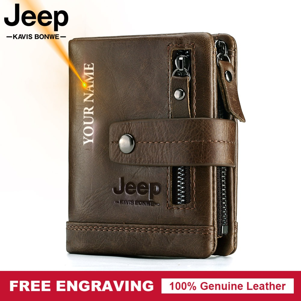 Free Engraving 100% Genuine Leather Men Wallet Coin Purse Small Card Holder PORTFOLIO Portomonee Male Walet Pocket Coffee Money