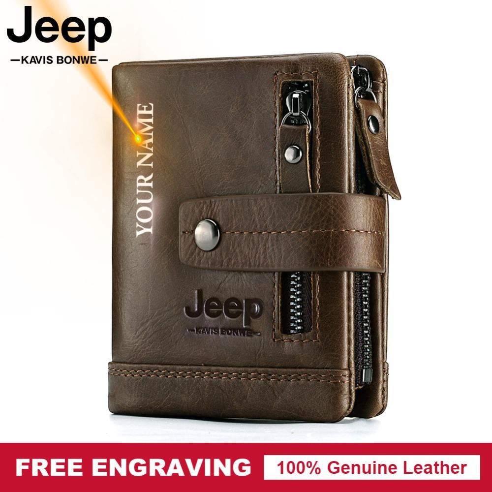 Free Engraving 100% Genuine Leather Men Wallet Coin Purse Small Card Holder PORTFOLIO Portomonee Male Walet Pocket Coffee Money