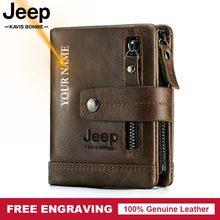 Billetera de cuero genuino para hombre con grabado, cartera masculina de cuero vacuno 100% auténtico, monedero pequeño, portatarjetas, estilo portafolio para hombre