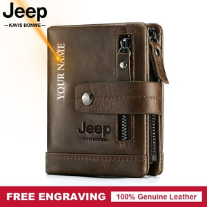 Free Engraving 100% Genuine Leather Men Wallet Coin Purse Small Card Holder PORTFOLIO Portomonee Male Walet Pocket Coffee Money(China)