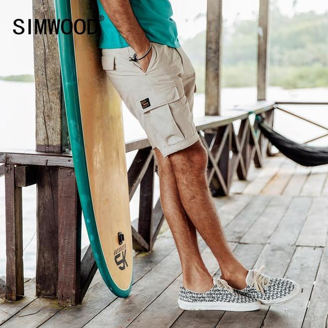 SIMWOOD 2020 קיץ חדש מכנסיים קצרים מטען גברים 100% צבע Slim Fit זכר לשטוף בציר קצר אופנה באיכות גבוהה היפ הופ בגדי 190183מכנסיים