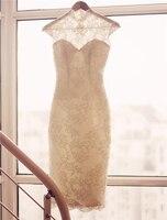 Real Photos Short Wedding Dress 2017 Vintage Sheath Cap Sleeves High Neck Lace Applique Teal Length