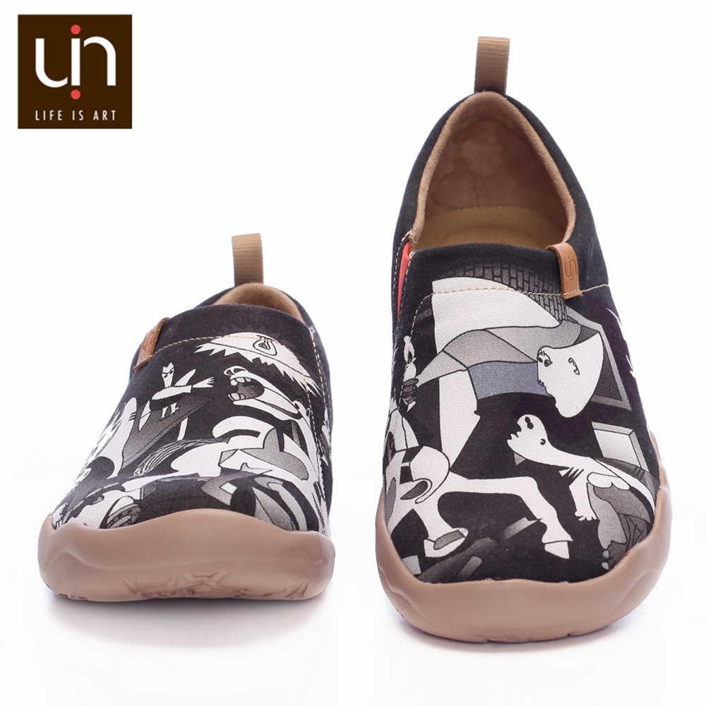 UIN Art ทาสีรองเท้าสำหรับชายรองเท้าสีดำแบบสบายๆ SLIP-ON Loafer สบายรองเท้าน้ำหนักเบารองเท้าผ้าใบนุ่ม