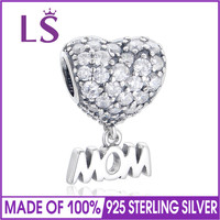 LS Pure 925 Sterling Silver Letter M Heart Charm For Mother S Day DIY Bead Fit