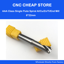 1pc AAA Grade single Blade Aluminium Copper cutting tools One flute CNC router bits End Mill Milling Cutter SHK 8mm CEL 22mm