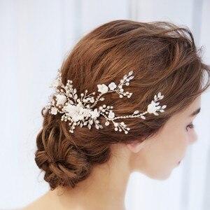 Image 5 - Цветок Серебряный цвет Свадебный гребень для волос ювелирные изделия Свадебная вечеринка ободки для невесты винтажная одежда для волос ювелирные изделия аксессуары