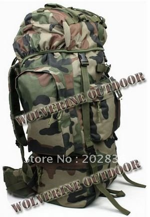 65 L Army Assault Backpack Military Rucksack Pack 82102 (Camo Woodland Bag Backpack) - Wolverine Outdoor's store