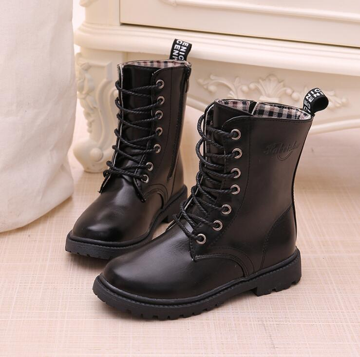 Boys/girls Lace-up Martin Boots Autumn Winter Waterproof Knight Single Boots Warm Older Children Snow Boots Kids Sneakers