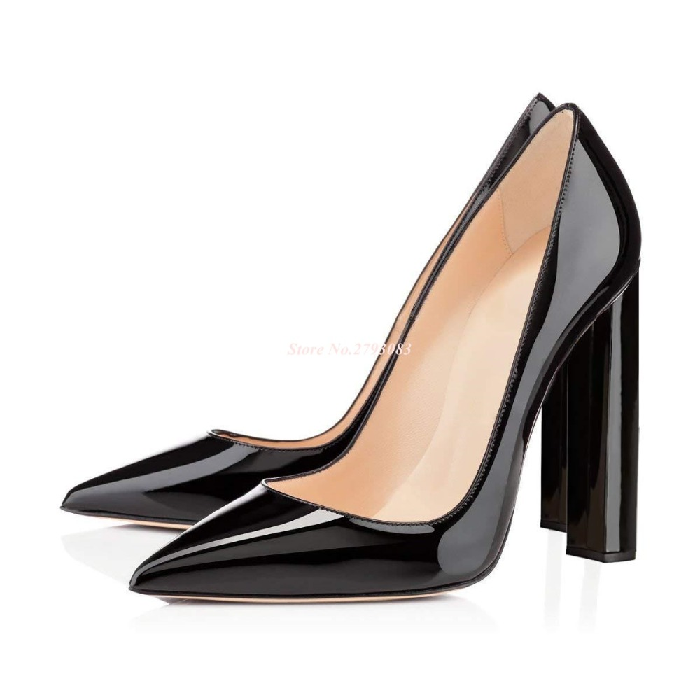 New Arrivals Black Patent Leather Square Heels Pumps Women Shoes Sexy Pointy Toe Chunky High Plus Size