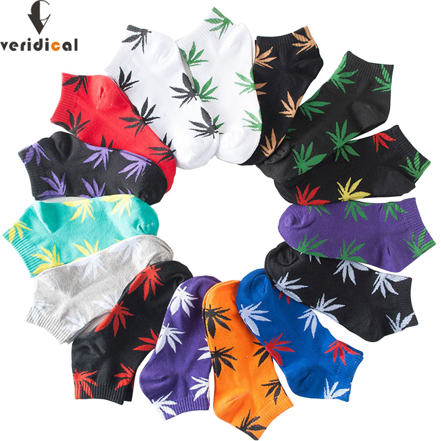 VERIDICAL 5 pairs/lot Women Men Comfortable High Quality Cotton Socks Marijuana Leaf Maple Leaf Casual Long Weed Ankle Sock image