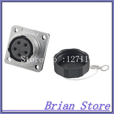 WS20-5 Female 5 Pins Chassis Mount Aviation Connector Plug Socket ac 500v 10a 10 pins aviation navigation connector coupler plug